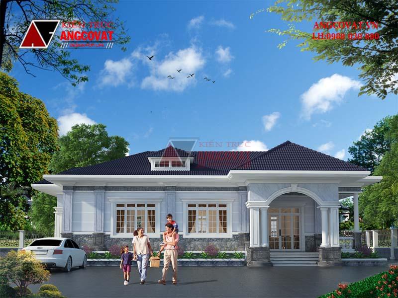 ngoại thất mẫu nhà cấp 4 mái thái 3 phòng ngủ ở Hà Nội
