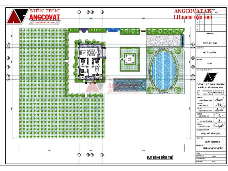 Măt bằng tồng thể nhà 1 tầng mái thái 3 phòng ngủ diện tích 190m2