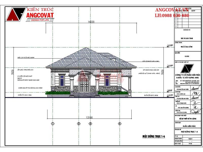 mặt đứng trục 1-4 nhà cấp 4 mái thái 3 phòng ngủ diện tích 190m2