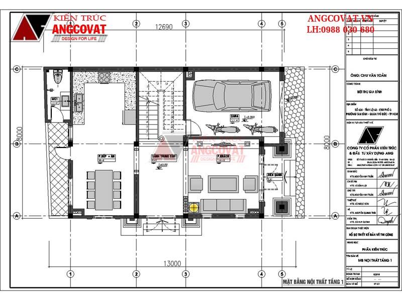 mặt bằng tầng 1 mẫu nhà 3 tầng kiểu pháp