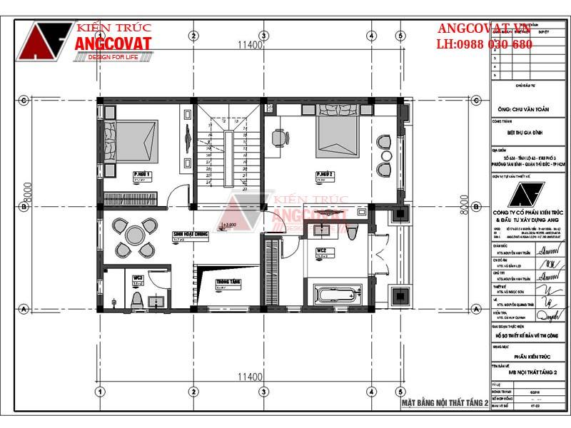 mặt bằng tầng 2 mẫu nhà 3 tầng kiểu pháp
