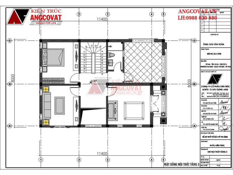 mặt bằng tầng 3 mẫu nhà 3 tầng kiểu pháp